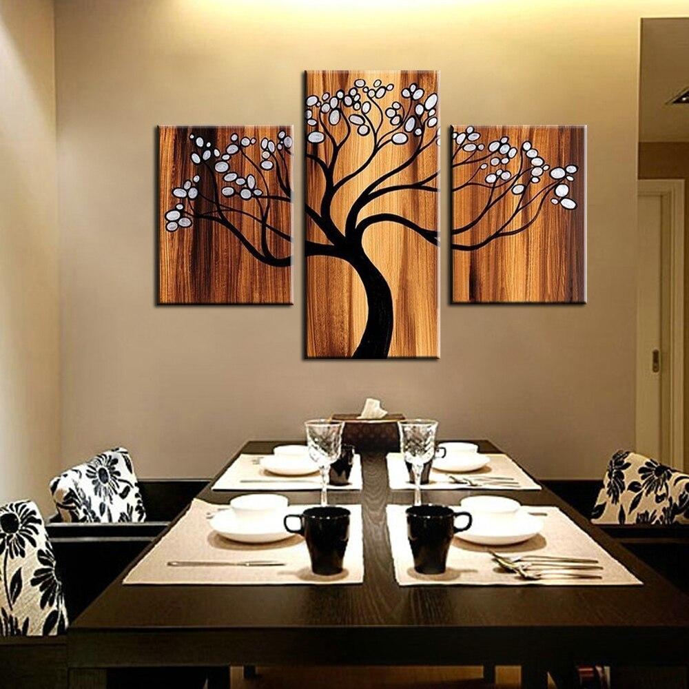 3 Pe A De Arte Da Parede Da Lona Abstrata Moderna Da Rvore Da Vida  -> Quadro De Parede Para Sala Abstrato