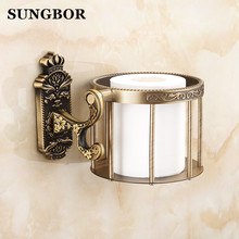 Brass antique brass paper towel rack europe style showroom shelf holder European toilet box accessories