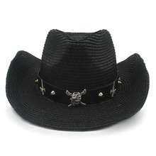 86d113fb6ef Women Men Straw Western Cowboy Hat With Roll Up Brim Jazz Sombrero Cap With  Fashion Belt