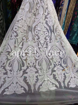 5yards LJL001# white sequin butterfly luxury floral embroidery soft mesh for evening dress/wedding/fashion design,send by dhl