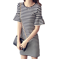 2017 Summer Dress New Arrive O Neck Flare Sleeve Fashion Korean Style Plus Size XXL Slim