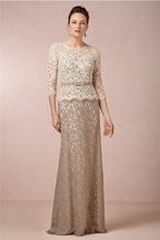 Hot New 2014 Long Appliques Lace Mother of the Bride Dresses With Sleeves Bowed Sash Brides Mother Dresses For Weddings 2014 black long sleeve mother off bride dresses wedding party dresses mother of the bride lace dresses for mothers brides