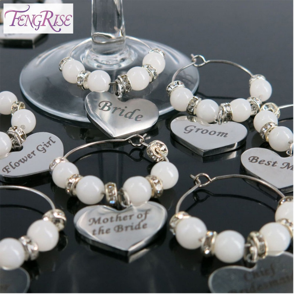 FENGRISE Custom Wedding Decoration Table Calice Champagne Wine Glass Charms Coppa Centrotavola Accessori per feste 20 Stile