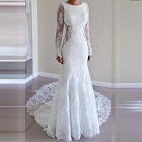 Robe De Mariee Backless Wedding Dress Lace Mermaid Brides Dresses for Weddings Long Sleeves Wedding Gown 2019 Vestidos Noiva