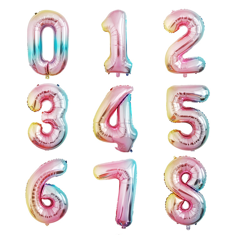 32inch Rainbow Number Foil Balloons Rose Gold Birthday Party Decorations Kids Orbs Figure Air Balloons Kid Toy Gift Super Deal 594938 Cicig