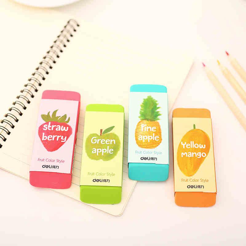 1 Pack 12Pcs Super Big Size 107x41x12.3mm Soft Plastic Eraser For Students Fruit Color Pencil Rubber ErasersDeli 71050