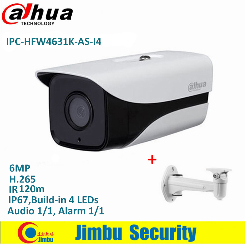 Dahua IPC-HFW4631K-AS-I4 6Mp Stellar Bullet IP Camera H.265 IR120m built-in SD Card Audio Alarm interface IP67 POE CCTV Camera dahua ipc hfw4431k as i6 stellar camera 4mp poe sd card slot audio alarm interface ip67 ir150m bullet camera with bracket