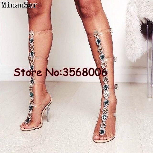 Trendy Design Buckle Straps Crystal Clear Lady High Heels Boots Woman Knee High Rhinestone Gladiator Sandal