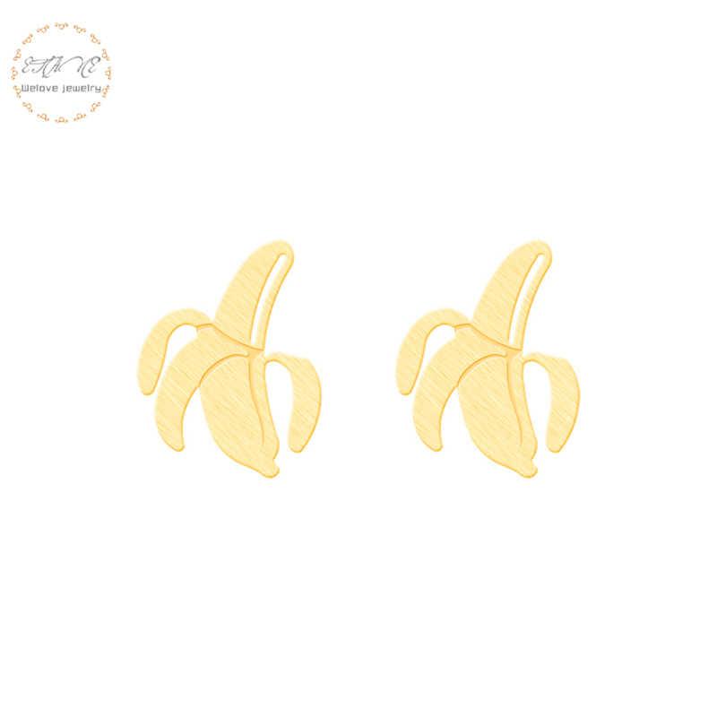 الدنيا مجوهرات 4 ألوان الموز الأقراط للنساء الاستوائية الفاكهة الفولاذ المقاوم للصدأ قرط الاذن المرصع Bff هدية بوكل Oreille 2018