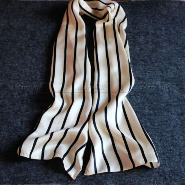 Gran Regalo! Marca de moda 100% de Seda Largo de La Bufanda/Pañuelo Scarives Marca Doble Capa Negro Azul Blanco