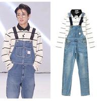 Kpop Bangtan Boys BTS JUNGKOOK V Same Section Jeans Trousers Unisex Korean Students Loose Boyfriend Ulzzang Bib Pants