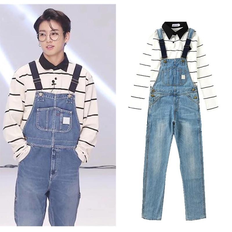 Kpop Bangtan мальчиков BTS JUNGKOOK V же раздел джинсы брюки унисекс корейских студентов свободные бойфренда Ulzzang комбинезон
