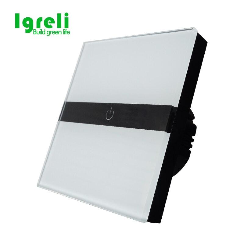 Igreli smart home UE interruptor de pantalla táctil 1 gang control único panel de cristal blanco de lujo interruptor de pared para led lámpara