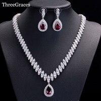 ThreeGraces Berühmte Marke Afrikanischen Design Braut-accessoires Roten Zirkonia Perlen Schmuck Sets Für Hochzeit Kostüm JS002
