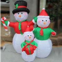 ЕС plug Рождество Снеговик Семья надувной светодиодный освещенный Новый Год Вечерние Декор праздничное освещение Надувное украшение двора,