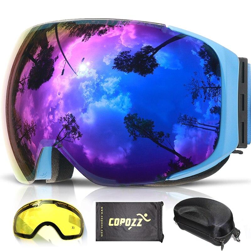 COPOZZ Магнитная лыжные очки с 2 S быстрой смены объектива и чехол Комплект UV400 Защита Анти-туман сноуборд лыжные очки для Для мужчин Для женщин