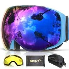 COPOZZ Magnetische Skibrille mit 2 s Schnell ändern Objektiv und Fall Set UV400 Schutz Anti-fog Snowboard Ski Brille für Männer Frauen