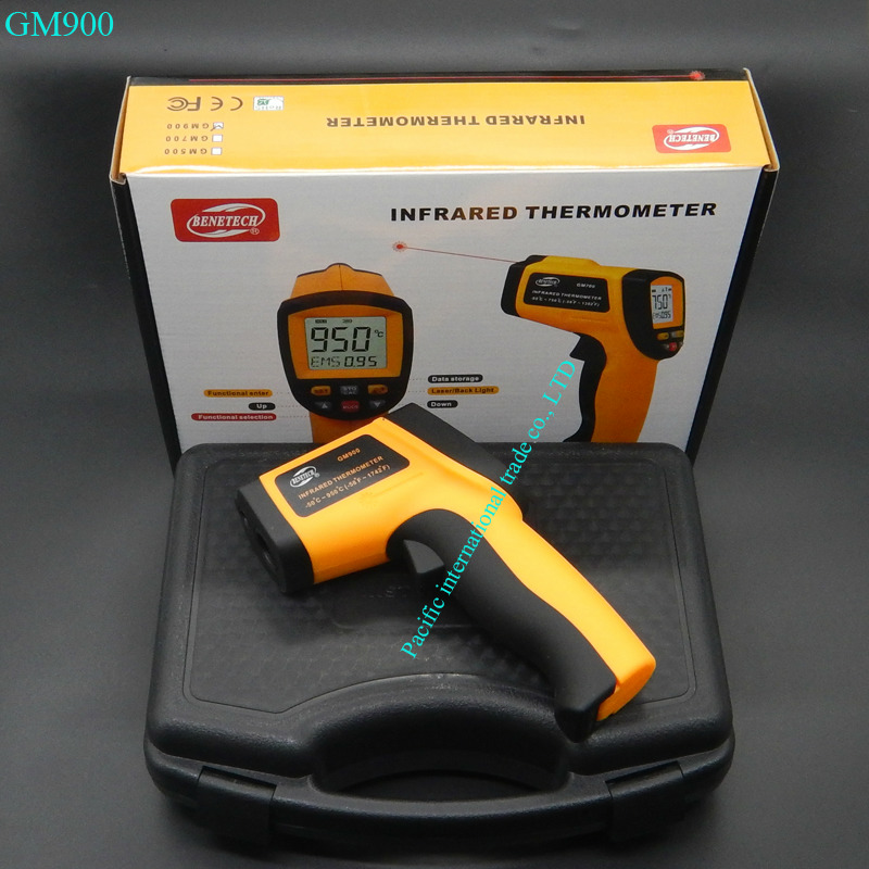 ФОТО Non-Contact  IR Thermometer Digital Laser Infrared Pointer Thermometer GM900 -50-950 Degree With Carry BOX