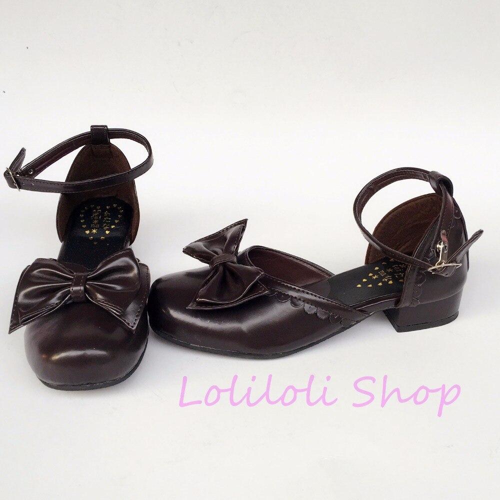 Princess sweet lolita shoes loliloli yoyo Japanese design custom big size coffee bright skin buckle strap low-heeled shoes 6660