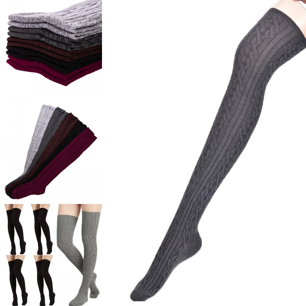 2018 New 1 Pair Fashion Female Over Knee Striped High Stocking Warm Knit Soft Thigh High Long Solid Color Stocking For Women