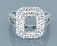 14K Natural Diamond White Gold Semi Mount Emearld Cut 5x7mm 0.82ct Engagement Wedding Setting Ring 2T018