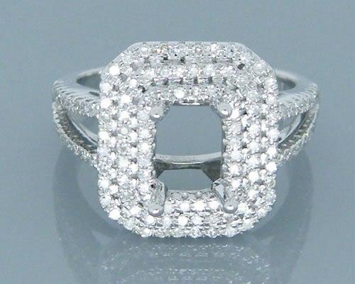 14 К природного алмаза Белое золото полу крепление emearld Cut 5x7 мм 0.82ct обручальные кольца установки 2T018