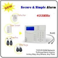 433 мГц tcp/ip Ethernet gsm alarma casas с RJ45 Порты и разъёмы, Android, Iphone App Управление английский голосовые подсказки ALARME системы