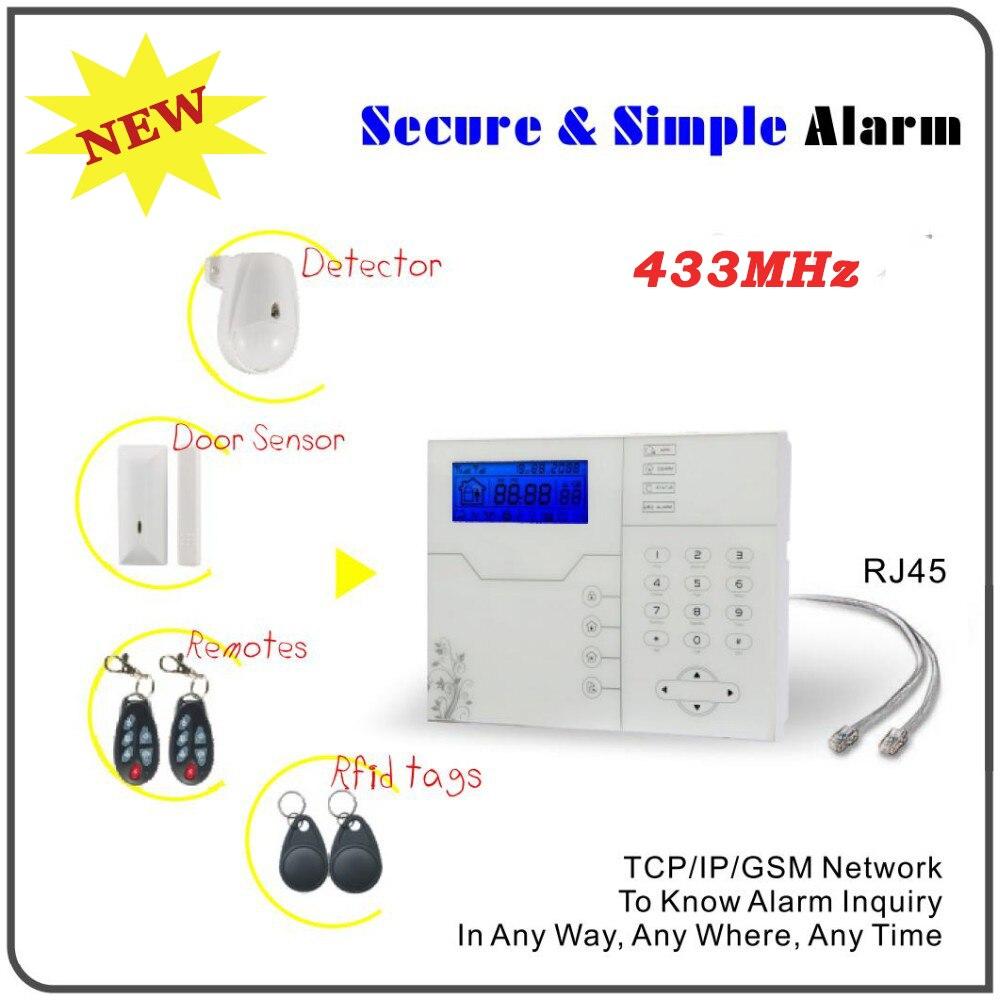 433 mhz tcp/ip Ethernet GSM Alarma Casas avec Port RJ45, Android Iphone APP contrôle anglais système d'alarme vocale