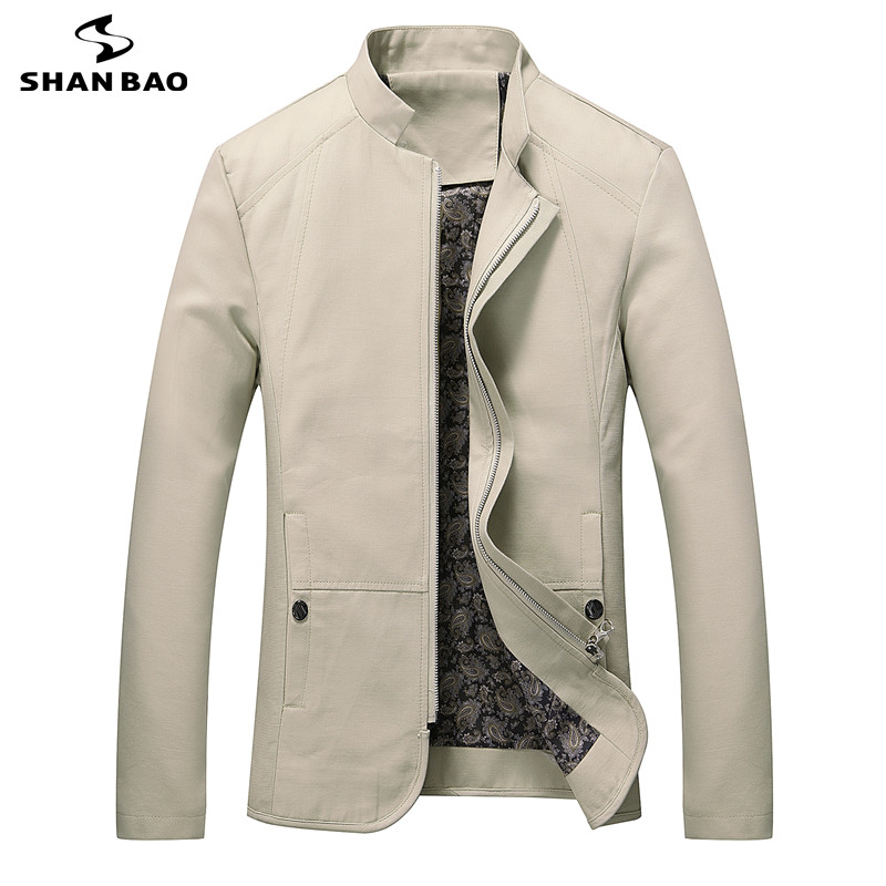 SHAN BAO brand clothing cotton jacket 2017 spring business casual men's fashion stand collar jacket jacket large size M-5XL