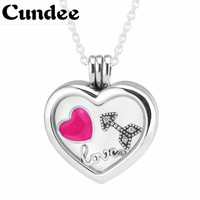 Fits European Charms 925 Sterling Silver Jewelry Heart Floating Locket Pendant With Necklace For Women DIY