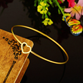 2016 New Simple Style Gold Plated Stainless Steel Heart Bracelet For Women Fashion Bracelets&Bangle Jewelry Wholesale N3