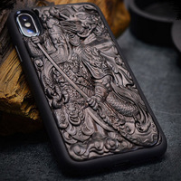 Case For iPhone XR X XS Max ebony Black wood 3D Stereo Emboss Carved Wooden TPU Back Cover Case For iPhone 6 6s 7 8 plus