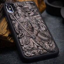 Capa para iphone xr x xs max ébano preto madeira 3d estéreo emboss esculpida tpu de madeira capa traseira para iphone 6s 7 8 plus