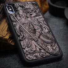 حقيبة لهاتف أي فون XR X XS Max ebony خشب أسود ثلاثية الأبعاد ستيريو النقش منحوتة خشبية بولي يوريثان الغطاء الخلفي حقيبة لهاتف أي فون 6 6s 7 8 plus
