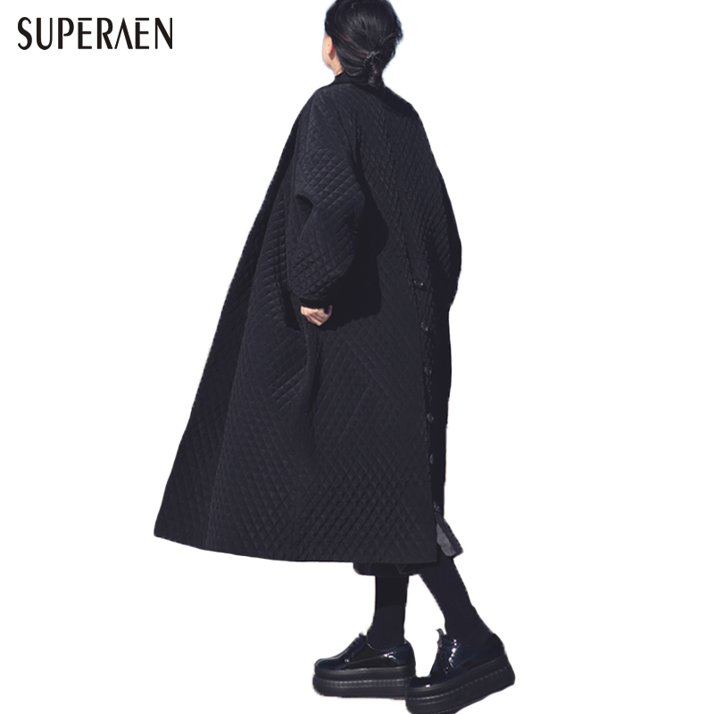 European and American Big Brand Long Loose Black Windbreaker Long Trench Coat for Women(China)