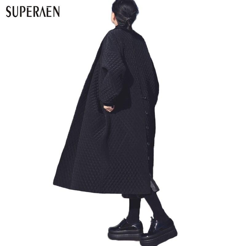 Европейские и американские большой бренд длинные свободные черный Ветровка Длинные пальто для женщин