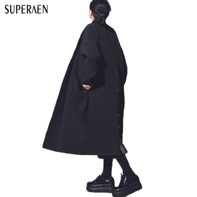 European and American Big Brand Long Loose Black Windbreaker Long Trench Coat for Women