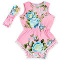 Cute Cotton Baby Rompers + Headwear Summer Sleeveless Baby Wear Infant Jumpsuit Girls Clothes Roupas De Bebe Infantil For Girl
