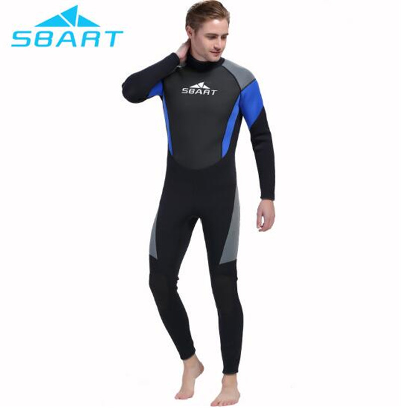 SBART 3mm Neoprene Men Scuba Diving Wetsuit Neoprene Suit Full Body Swimsuit Surfing Snorkeling Full Body Swimwear Water Sports sbart upf50 806 xuancai