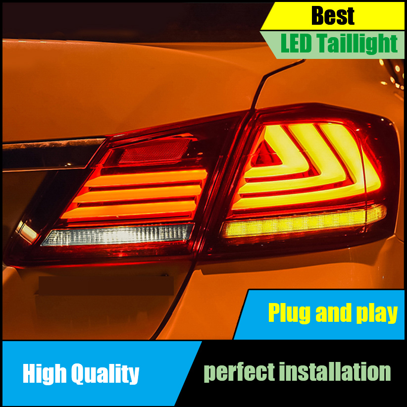 Car Styling Taillight For HONDA Accord 9th Sedan 2014 2015 2016 Taillights LED Tail Light Rear Lamp DRL+Brake+Reversing+Signal red clear tail lights led brake 1 pair lh rh fit for honda accord 2013 2014 2015 4 door sedan