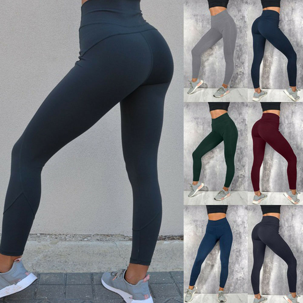 Hirigin Women Sport Pants High Waist Skinny Fitness Leggings Running Gym Trousers Black/Wine Red/Blue/Green/Light Gray/Dark Gray