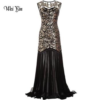 weiyin Women's Party Dress Sexy Mermaid Black Sequin Gatsby Maxi Long Evening Prom Dress