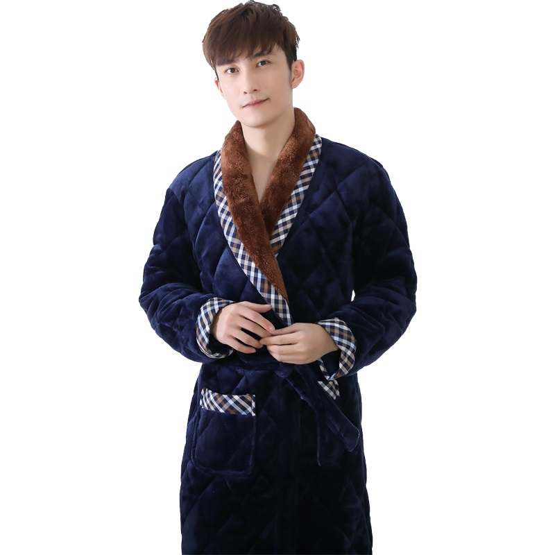 Thick quilted coral flannel long sleeve male plus size L 3XL robe plaid stitching bathrobes male