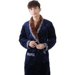 Dick wattierte korallen flanell lange-sleeve männlichen plus größe L-3XL robe plaid nähte bademäntel männlichen nachtwäsche winter pijama hombre