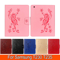 Butterfly Leather Cover Stand case for Samsung Tab 4 T230 T235 7.0' inch, with Crystal Card Slot Cover for Samsung T230 tablet