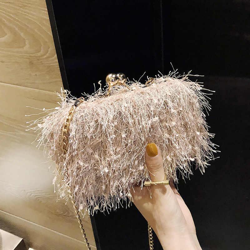 ICEV estilo coreano pequeno selvagem único de pelúcia bolsa de ombro mulheres borla cadeia clipe sacos de mensageiro senhoras noite garras saco do telefone