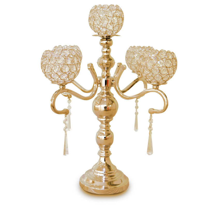 Free Shipping 5 heads luxury gold silver crystal candelabra wedding table centerpiece/ 55cm(H) by45cm(W) Wedding candle holder