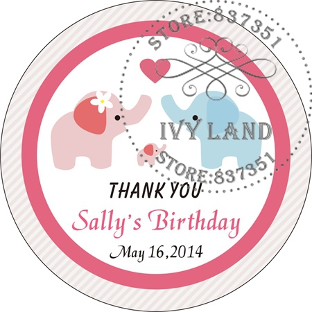 Free Shipping,New Paper,Custom Adhesive Sticker / Label,For Baby Shower / Birthday,Circle 5cm,B29