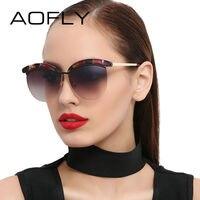 AOFLY Sunglasses Women Cat Eye Sunglasses Coating Mirrored Lenses Elegant Designer Sun Glasses Goggle Female Oculos