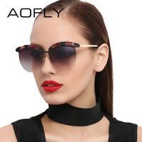 AOFLY Sunglasses Women Cat Eye Sunglasses Coating Mirrored Lenses Elegant Designer Sun Glasses Goggle Female Oculos